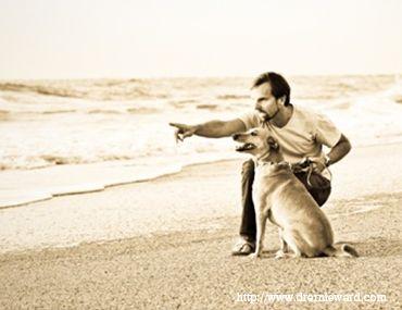 Dr. Ernie Ward in spiaggia con il suo cane